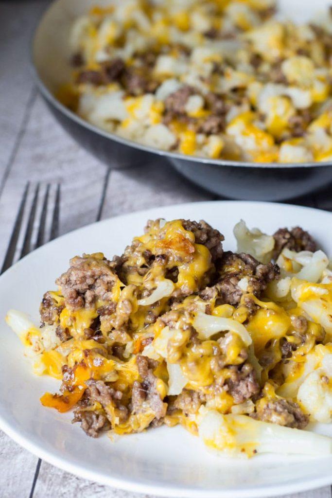 Cauliflower and Ground Beef Hash