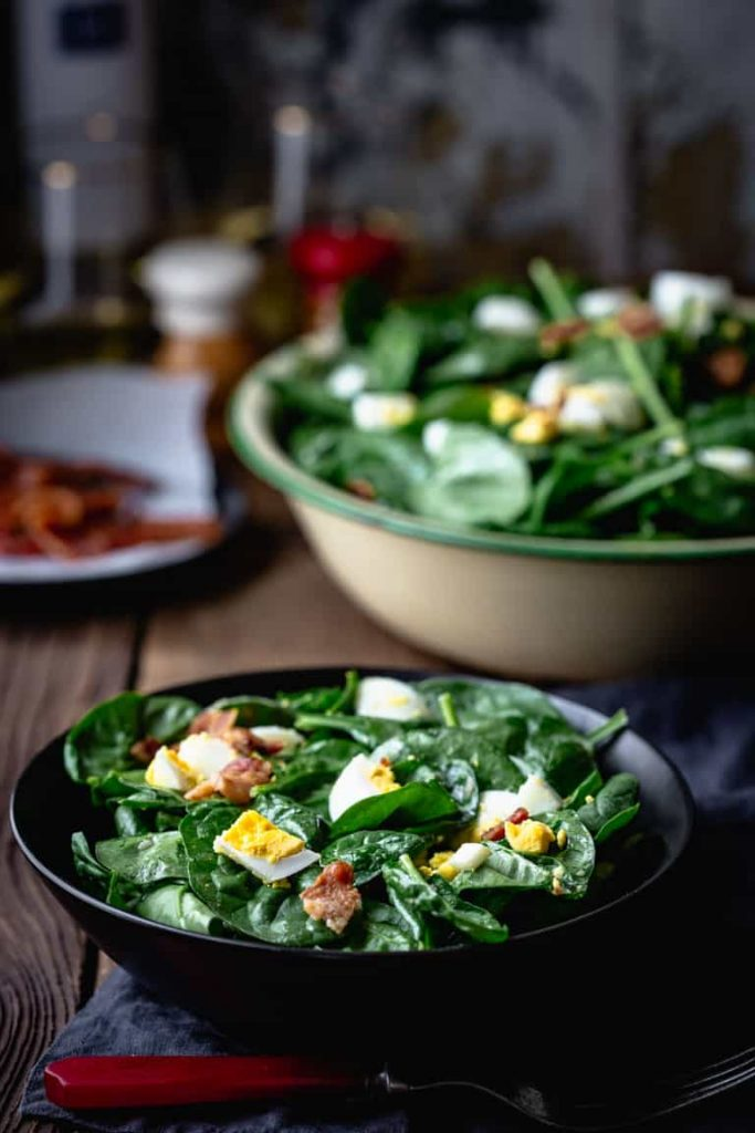 Spinach Salad with Bacon and Eggs