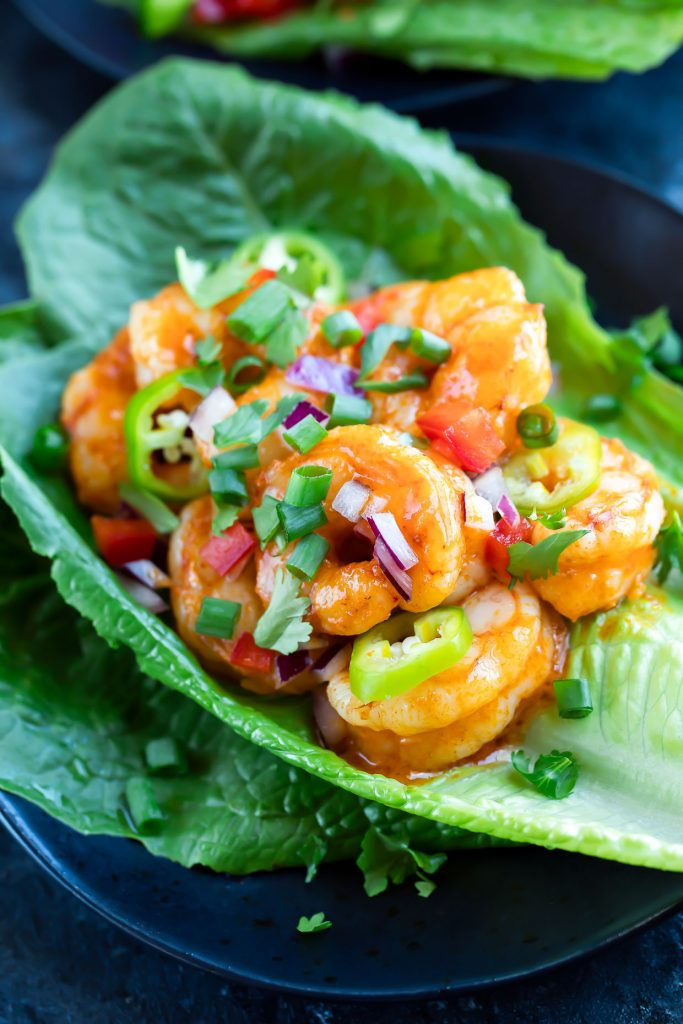 Buffalo Shrimp Lettuce Wrap Tacos