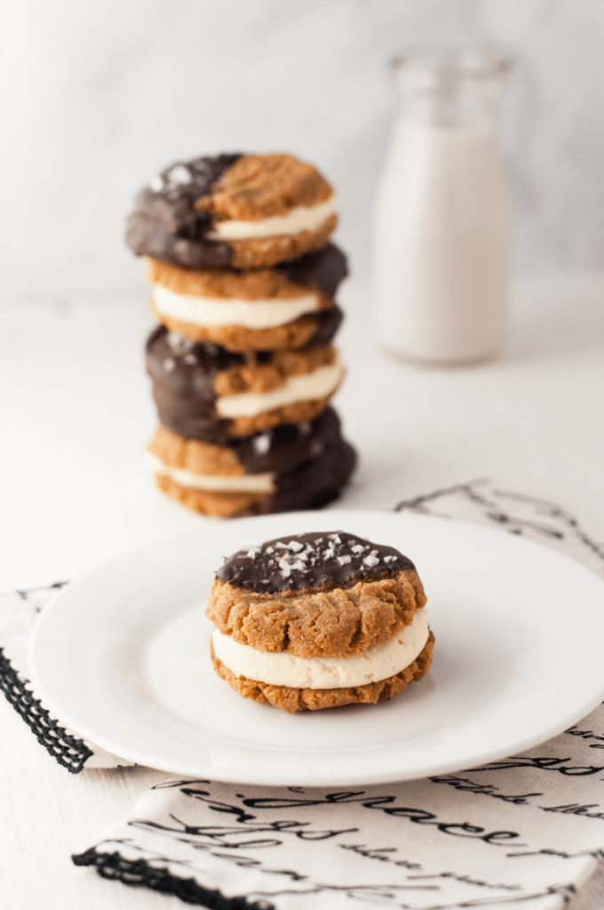 Low Carb Chocolate Dipped Peanut Butter Cookie Sandwiches
